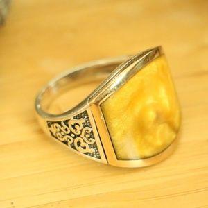 925 Sterling Silver Men's Ring enamel amber
